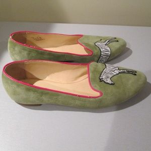 C Wonder Zebra Embroidered Suede Loafers Shoes